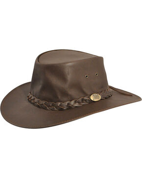 Jacaru Kangaroo Leather Outback Hat, Brown, hi-res