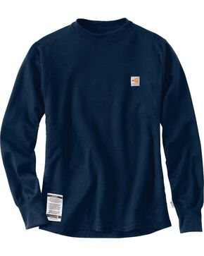 Carhartt Men's Flame-Resistant Base Force Cold Weather Crewneck - Big & Tall, Navy, hi-res