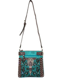Savana Turquoise Lace Embroidered Crossbody, , hi-res