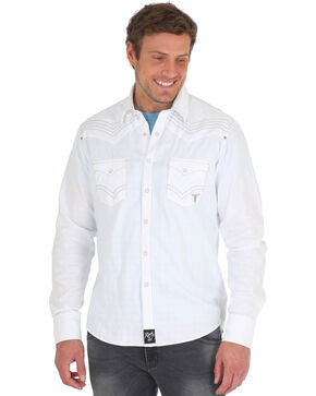 Wrangler Rock 47 Men's White Solid Western Shirt , White, hi-res