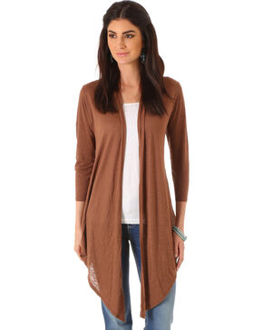 Wrangler Women's Three Quarter Sleeve Length Solid Cardigan, Brown, hi-res
