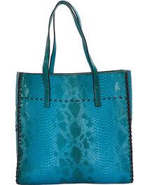 Wear N.E. Wear Women's Turquoise Snakeskin 3 Piece Tote, , hi-res