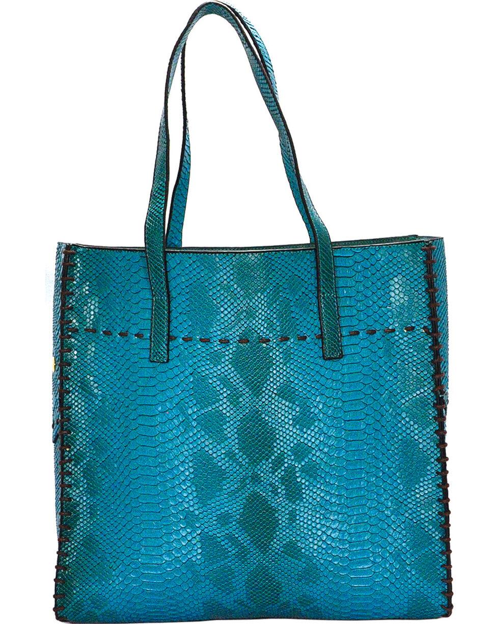 Wear N.E. Wear Women's Turquoise Snakeskin 3 Piece Tote, Turquoise, hi-res
