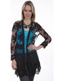 Scully Women's Black Lace Cardigan, , hi-res