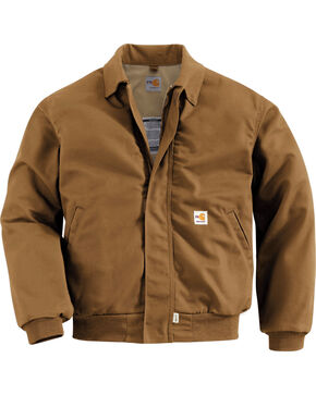 Carhartt Men's Flame Resistant All-Season Bomber Jacket, Brown, hi-res