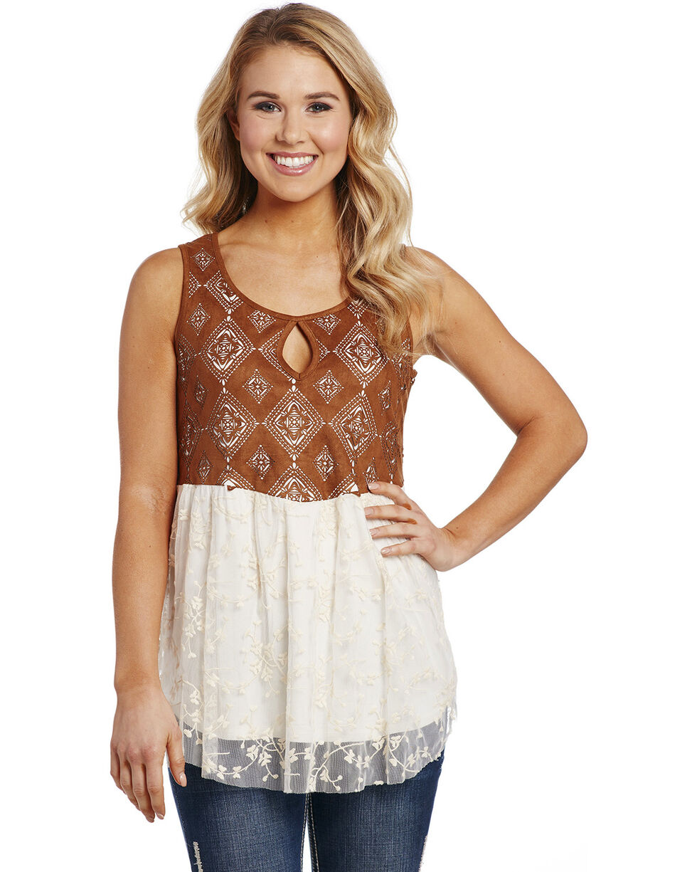 Cowgirl Up Women's Two Fabric Tank Top, Cream, hi-res