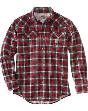 Carhartt Men's Flame-Resistant Snap-Front Plaid Shirt , Red, hi-res