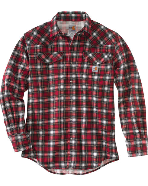 Carhartt Men's Flame-Resistant Long Sleeve Work Shirt, Red, hi-res