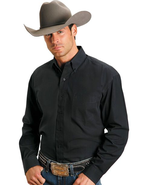 Stetson Solid Button Oxford Shirt, Black, hi-res