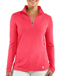 Carhartt Women's Base Force Super-Cold Weather Quarter-Zip Top, Coral, hi-res