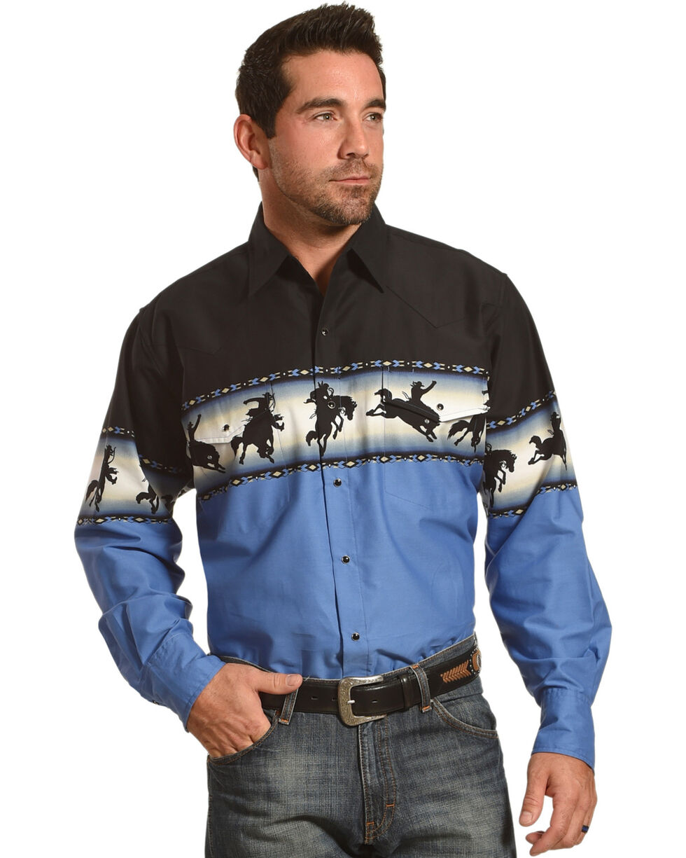 Ely Cattleman Men's Bronco Rider Border Print Shirt - Tall, Black, hi-res