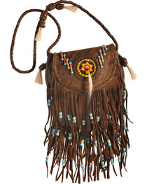 Kobler Leather Tan Rossette Fringe Crossbody Bag, , hi-res