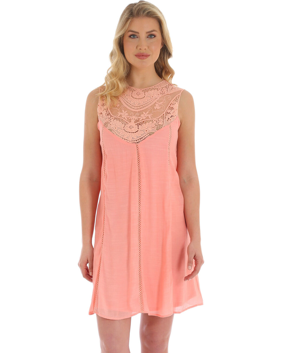 Wrangler Women's Blush Lace Sleeveless Swing Dress, Light Pink, hi-res