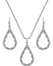 Montana Silversmiths Laced Teardrop Jewelry Set , , hi-res