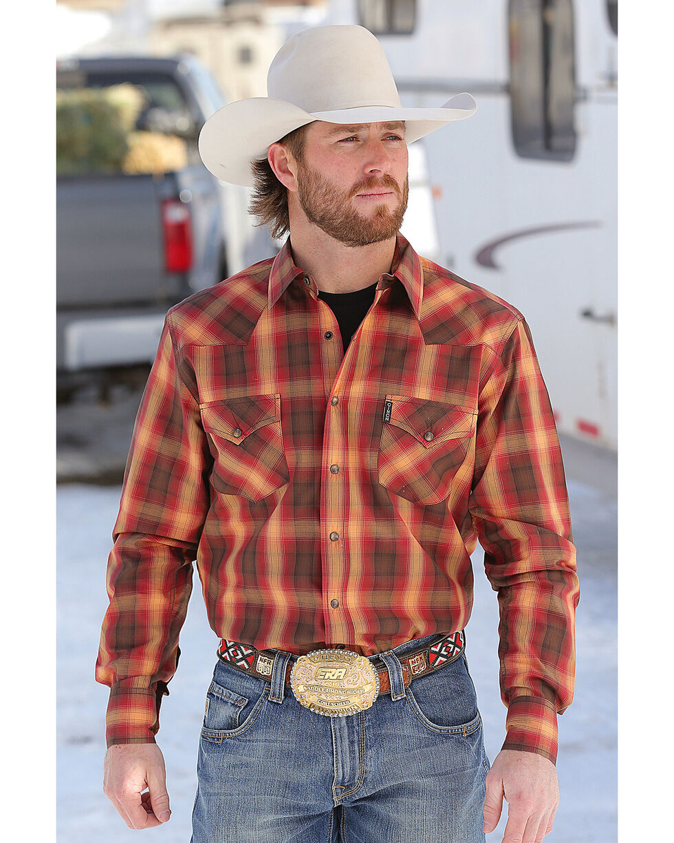 Cinch Men's Orange Plaid Western Shirt , Multi, hi-res