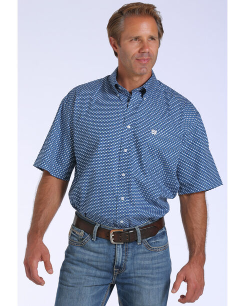 Cinch Men's Printed Short Sleeve Shirt, Blue, hi-res