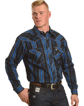 Cowboy Hardware Men's Black Distressed Plaid Long Sleeve Shirt, Black, hi-res