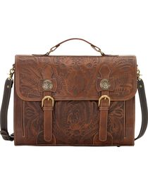 American West Chestnut Leather Stagecoach Laptop Briefcase, , hi-res