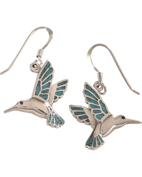 Silver Legends Women's Turquoise Hummingbird Dangle Earrings , Turquoise, hi-res