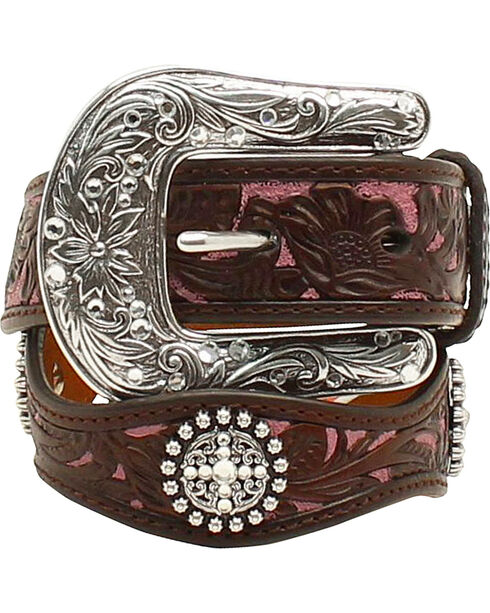 Ariat Girls Scalloped Hand Tooled & Embellished Belt, Brown, hi-res