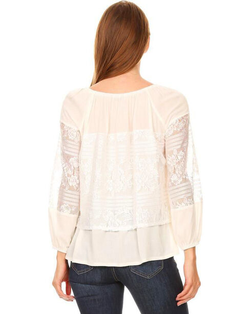 Young Essence Women's Long Sleeve Off the Shoulder Lace Top, Cream, hi-res