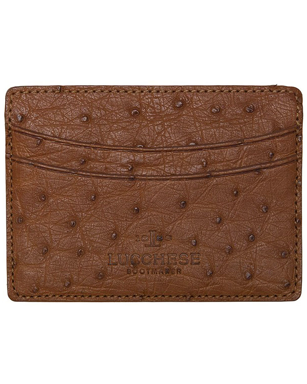 Lucchese Men's Cognac Ostrich Credit Card Case, Cognac, hi-res