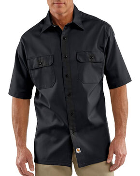 Carhartt Men's Short Sleeve Twill Work Shirt, Black, hi-res