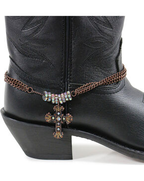 Shyanne® Women's Rhinestone Cross Boot Bracelet, Brown, hi-res