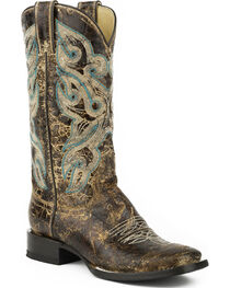 Stetson Women's Sadie Distressed Brown Western Boots - Square Toe, , hi-res