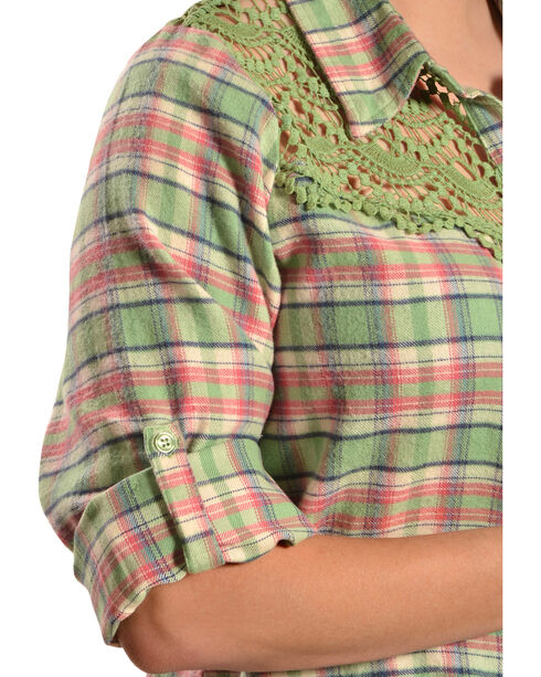 Red Ranch Women's Long Sleeve Crochet Flannel Green Plaid Shirt - Plus, Green Plaid, hi-res