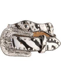Nocona Kid's Zebra Printed Scalloped Leather Belt, , hi-res