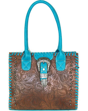 Savana Women's Floral Embossed Western Handbag, Brown, hi-res