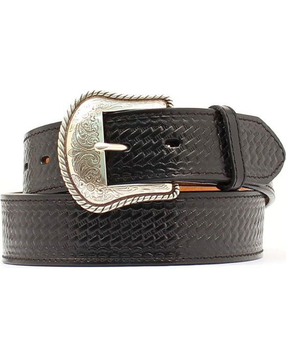 Double S Basketweave Embossed Leather Belt, Black, hi-res
