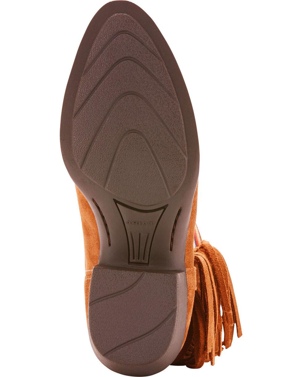 Ariat Girls' Duchess Serape Fringe Short Cowgirl Boots - Round Toe, Brown, hi-res