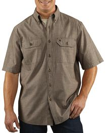 Carhartt Men's Short Sleeve Chambray Shirt, Dark Brown, hi-res
