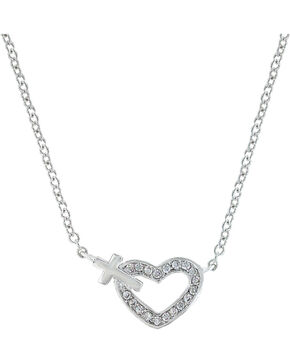 Montana Silversmiths Women's Heart of Faith Necklace, Silver, hi-res