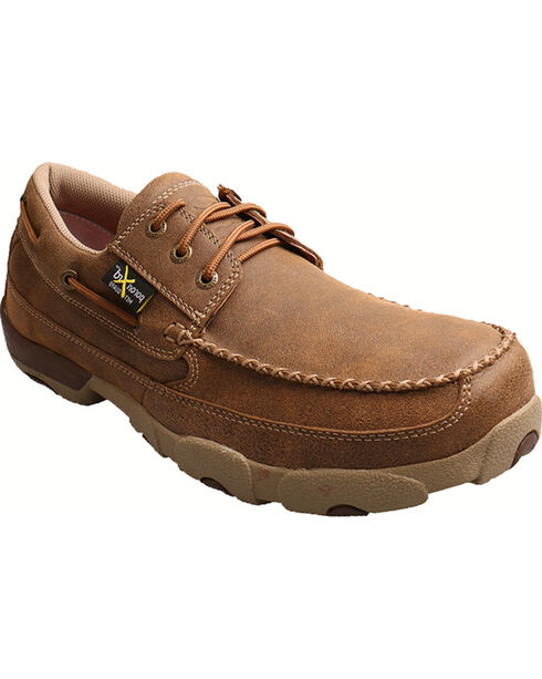 Twisted X Men's Steel Toe Driving Mocs Work Shoes, Bomber, hi-res