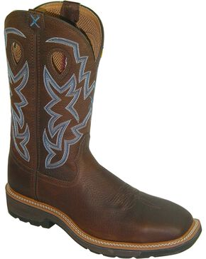 "Twisted X Men's 12"" Lite Cowboy Steel Toe Work Boots, Brown, hi-res"