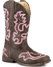 Roper Girls' Rhinestone Horseshoe Cowgirl Boots - Square Toe, , hi-res