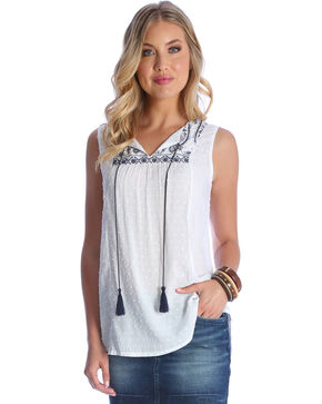 Wrangler Women's Ivory Sleeveless Swiss Dot Top , Ivory, hi-res