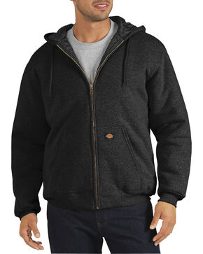 Dickie's Men's Heavyweight Quilted Fleece Hoodie, Black, hi-res