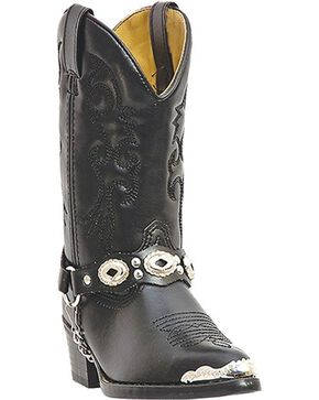 Laredo Youth's Concho Western Boots, Black, hi-res