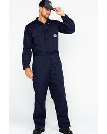 Carhartt Men's Navy Flame-Resistant Deluxe Coveralls, , hi-res