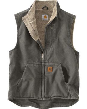 Carhartt Men's Sandstone Mock-Neck Sherpa Lined Vest, Grey, hi-res