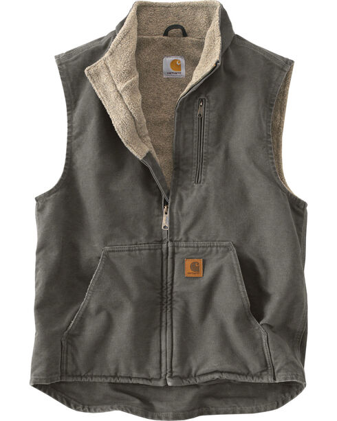 Carhartt Men's Sandstone Mock-Neck Sherpa Lined Vest, Grey, hi-res