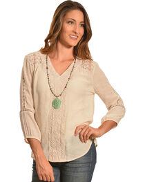 Tantrums Women's Sand Crochet and Lace V-Neck Shirt , , hi-res