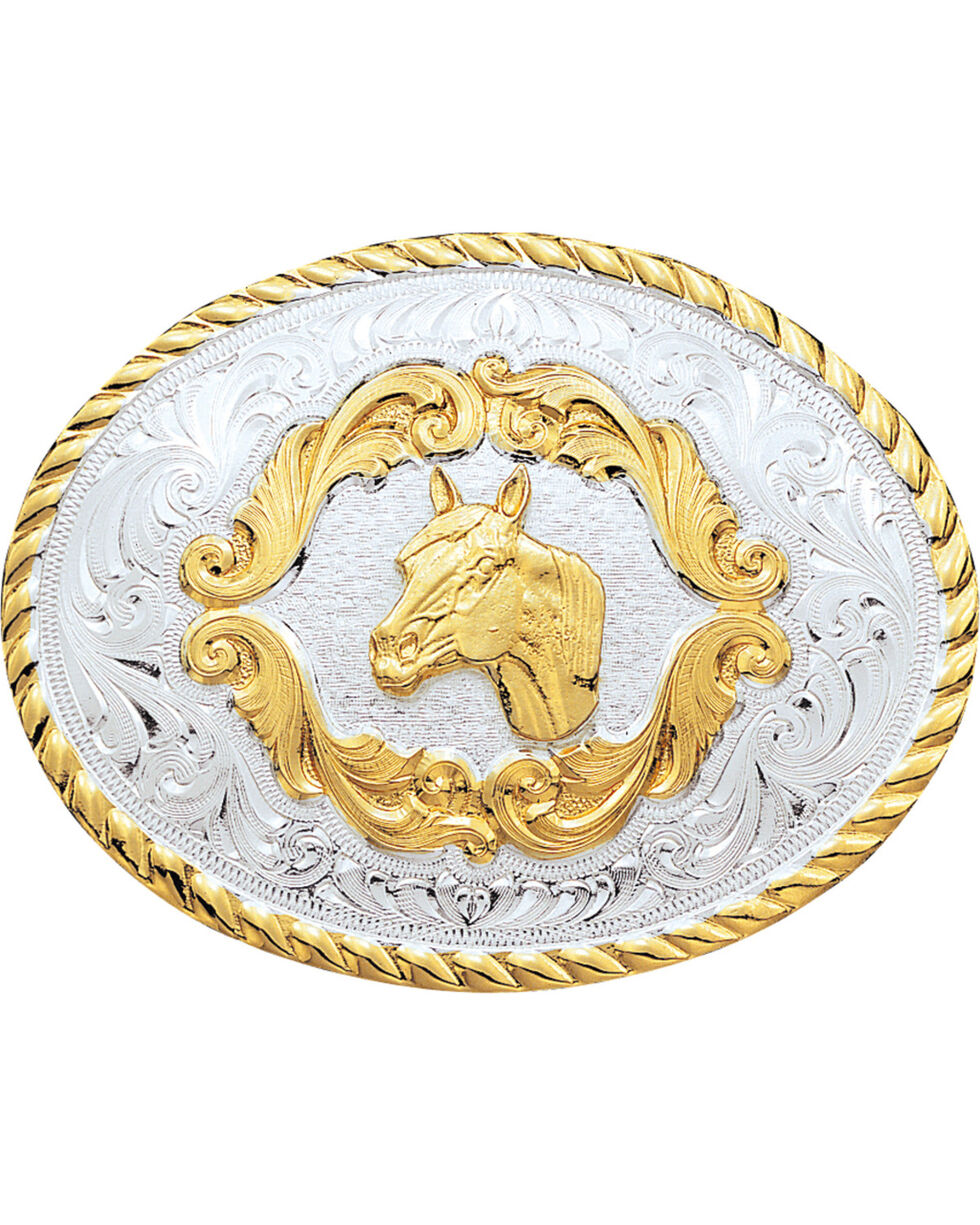 Montana Silversmiths Kid's Horse Head Belt Buckle, Silver, hi-res