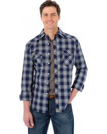 Wrangler 20X Navy and Brown Plaid Western Shirt, , hi-res