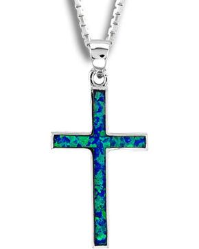 Kelly Herd Sterling Silver Blue Opal Cross Pendant, Silver, hi-res
