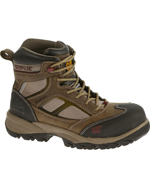 "CAT Women's Shaman 6"" Waterproof Composite Toe Work Boots, Taupe, hi-res"